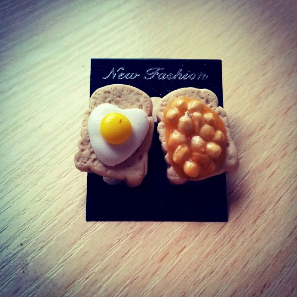 Beans and Egg on Toast Stud Earrings