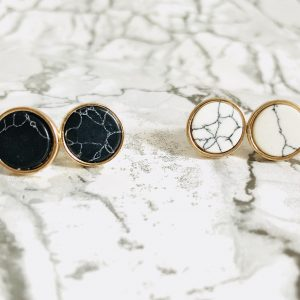 Circular Marble Stone Stud Earrings